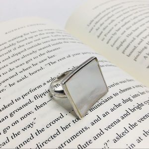 Sterling silver mother of pearl statement ring
